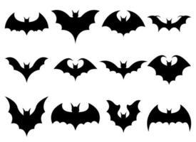 Bat vector design illustration set isolated on white background