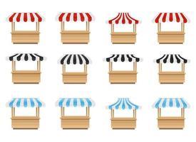 Empty market stall vector design illustration set isolated on white background