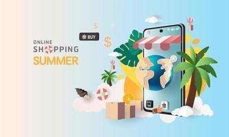 Compras de arte en papel en línea en teléfonos inteligentes y promoción de venta de nueva compra, fondo de verano para el comercio electrónico de banner market. vector