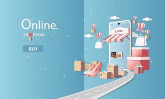 paper art shopping online on smartphone and new buy sale promotion sky blue backgroud for banner market ecommerce. vector