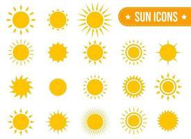 Conjunto de iconos de sol conjunto de ilustración de diseño vectorial aislado sobre fondo blanco vector