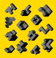 Isometric abstract geometric design elements with colored parts on a yellow background vector