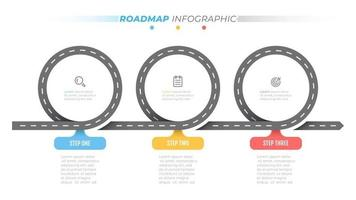 Road map info graphic template. Time line with 3 steps, options. Business concept design label and icons. Vector illustration.