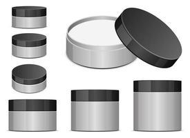 Tarro de plástico para cosméticos conjunto de ilustraciones de diseño vectorial aislado sobre fondo blanco. vector