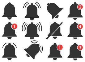 Conjunto de ilustración de diseño de vector de campana de notificación aislado sobre fondo blanco