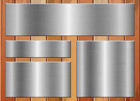 Metallic plate on wooden background set vector design illustration