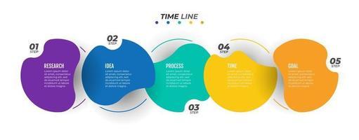 diseño de etiqueta de plantilla gráfica de información vectorial con círculos. concepto moderno de negocio con 5 opciones numéricas, pasos. proceso de línea de tiempo para informe anual, banner, gráfico de información, diseño web. vector