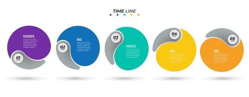 Vector Info graphic template label design with circles. Business modern concept with 5 number options, steps. Time line process for annual report, banner, info graph, web design.