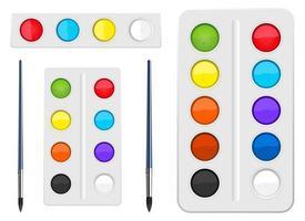 Conjunto de herramientas de acuarela ilustración de diseño vectorial aislado sobre fondo blanco. vector