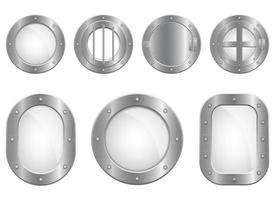 Metallic porthole window vector design illustration set isolated on white background
