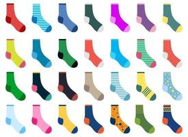 Different socks vector design illustration set isolated on white background