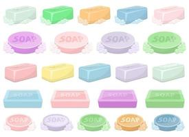 Solid soap for washing vector design illustration set isolated on white background