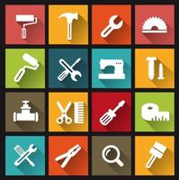 Computer icons with building tools and objects repair