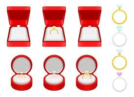 Engagement ring vector design illustration set isolated on white background