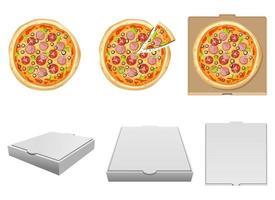 Conjunto de ilustración de diseño de vector de pizza deliciosa fresca aislado sobre fondo blanco