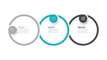 Business info graphic circle label design with marketing icons and 3 options, steps. Vector illustration.