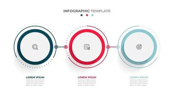 Time line info graphic design element and number options. Business concept with 3 steps. Can be used for work flow layout, diagram, annual report, web design. vector