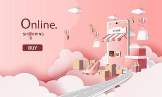 paper art shopping online on smartphone and new buy sale promotion pink backgroud for banner market ecommerce. vector