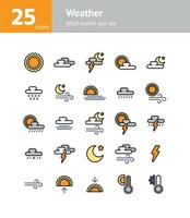Weather filled outline icon set. Vector and Illustration.