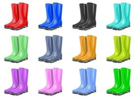 Rubber garden boots vector design illustration set isolated on white background