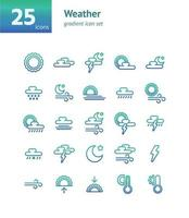 Weather gradient icon set. Vector and Illustration.