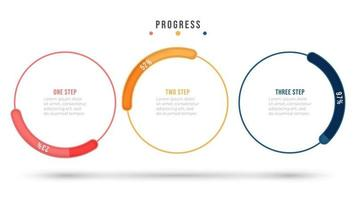Thin line flat design elements with circle progress bar. Business concept with 3 options or steps. Vector info graphic template.