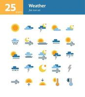 Weather flat icon set. Vector and Illustration.