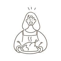 Woman holding a roast turkey, roast chicken, thanksgiving concept, hand-drawn style vector illustration.