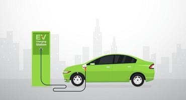 carga de batería de coche eléctrico ev en la estación. ilustración vectorial vector