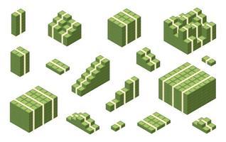 Various money bills. money cash heap. pile and stack money. Vector illustration