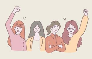 Happy young women stand and cheer up together. Girl power concept, hand-drawn style vector illustration.