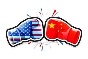 Boxing Gloves Fighting America Versus China. Concept of Trade war. Vector illustration