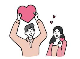 Man and woman holding heart, cute couple concept, hand-drawn style vector illustration.
