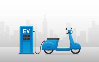 EV motorcycle charging station. Vector illustration