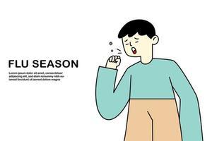 niño joven que tose tiene gripe y resfriado, concepto de alergia a la enfermedad, ilustración vectorial plana. vector