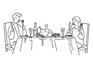 Cute couple having dinner meal with a roasted chicken, hand-drawn style vector illustration.