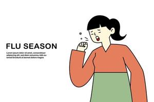 tos de niña tiene gripe y resfriado, concepto de alergia a la enfermedad, ilustración vectorial plana. vector