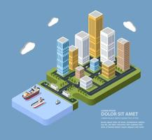 Flat isometric city. Urban neighborhoods, skyscrapers, homes and streets in an isometric view. vector