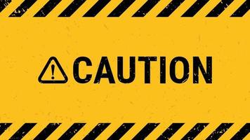 Caution sign with black yellow striped banner wall. Vector illustration