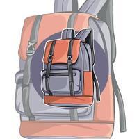 mochila marrón y morada. el diseño inusual de la mochila. accesorio vector
