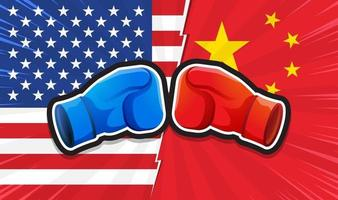 Trade war. Concept of Boxing Gloves Fighting America Versus China. Vector illustration