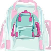 Children's Backpack. The unusual design of the backpack. Accessory vector