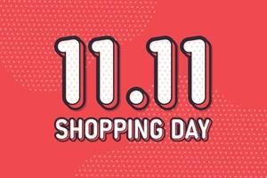11.11 día de compras, diseño pastel de banner de marketing de texto. ilustración vectorial