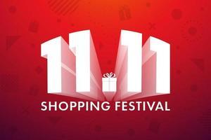 11.11 festival de compras, diseño de banner de marketing de voz sobre fondo rojo. ilustración vectorial