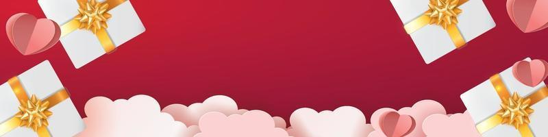 valentines background and love heart gift pink red cover for page banner romance vector illustation