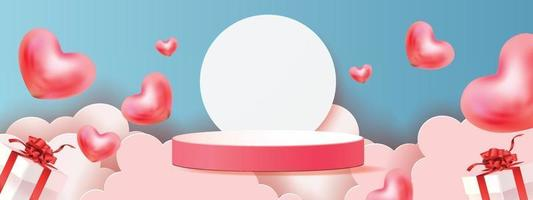 3d podium red product background for valentine.pink and heart love romance concept design vector illustation decoration banner