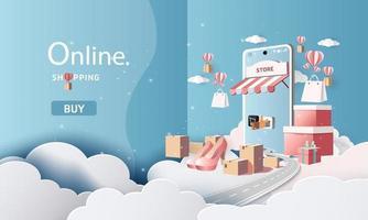 Compras de arte en papel en línea en teléfonos inteligentes y nuevo fondo de promoción de venta de compra para comercio electrónico de banner market. vector