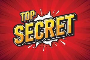 Top secret, Speech poster text art design. Vector illustration