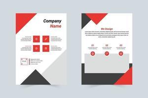 plantilla de volante de empresa rojo y gris conciso vector