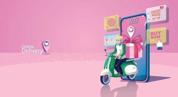 concepto de compra en línea, sitio web o aplicación de teléfono móvil, entrega y marketing digital. maqueta de teléfono inteligente, entrega rápida. Compras las 24 horas, encantador tono rosa del día de san valentín, vector